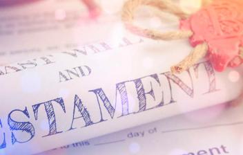 """Documento enrollado con la palabra """"testament"""""""