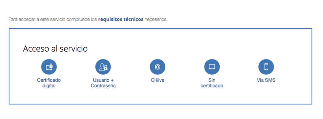 Captura de pantalla de los requisitos de acceso