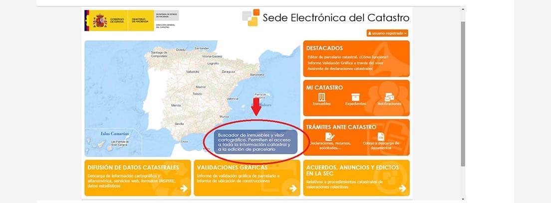 Pantallazo de la Sede Electrónica de Catastro, paso 1