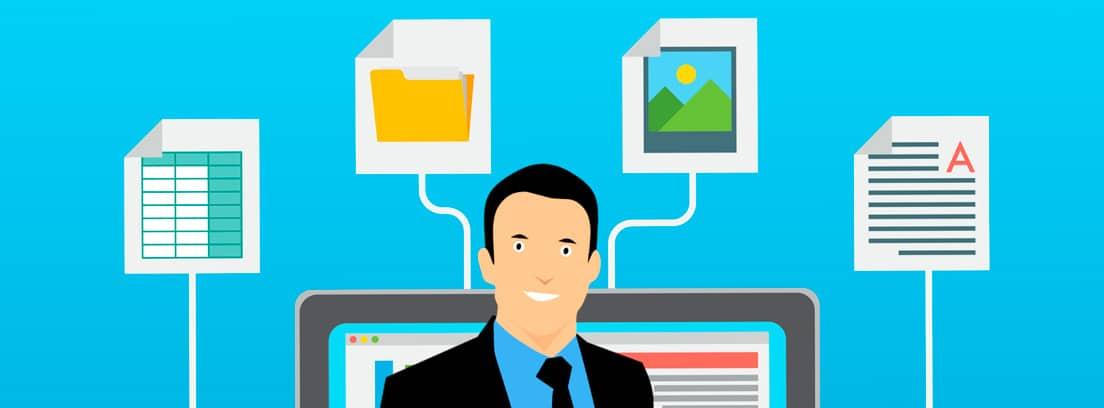 Ilustración de un hombre delante de la pantalla de un ordenador