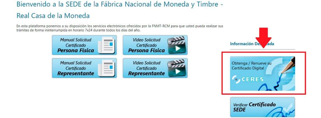 Pantallazo de la Fábrica Nacional de Moneda y Timbre