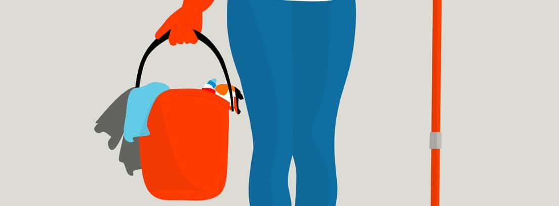 Ilustración de una mujer con un cubo con bayetas y una mopa