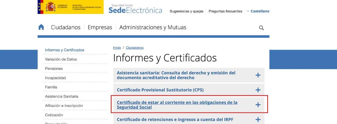 Pantallazo para pedir el certificado de estar al corriente en la Seguridad Social