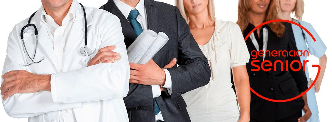 Jubilados colegios profesionales: grupo de trabajadores de diferentes profesiones