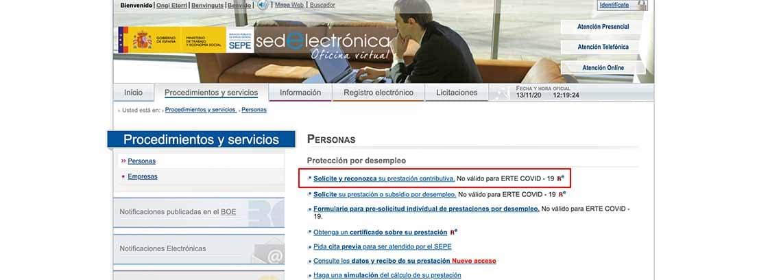 Pantallazo para reanudar la prestación por desempleo online