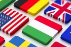 Botones cuadrados con las banderas de varios países