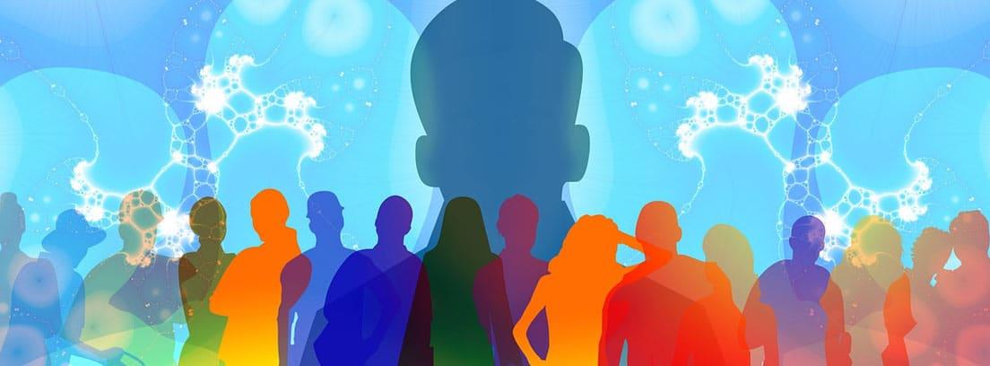 Ilustración de varias siluetas humanas con una de ellas destacando sobre las demás