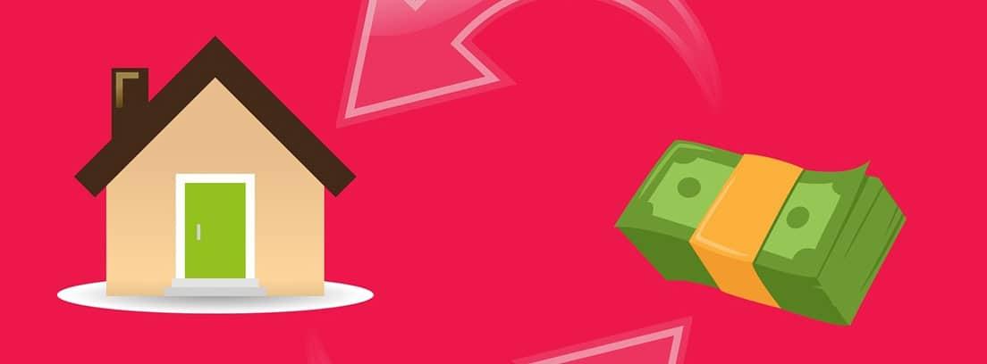 Ilustración de una casa y un fajo de billetes