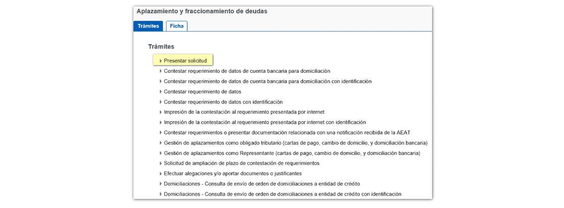 Pantallazo para presentar solicitud de aplazamiento del IVA