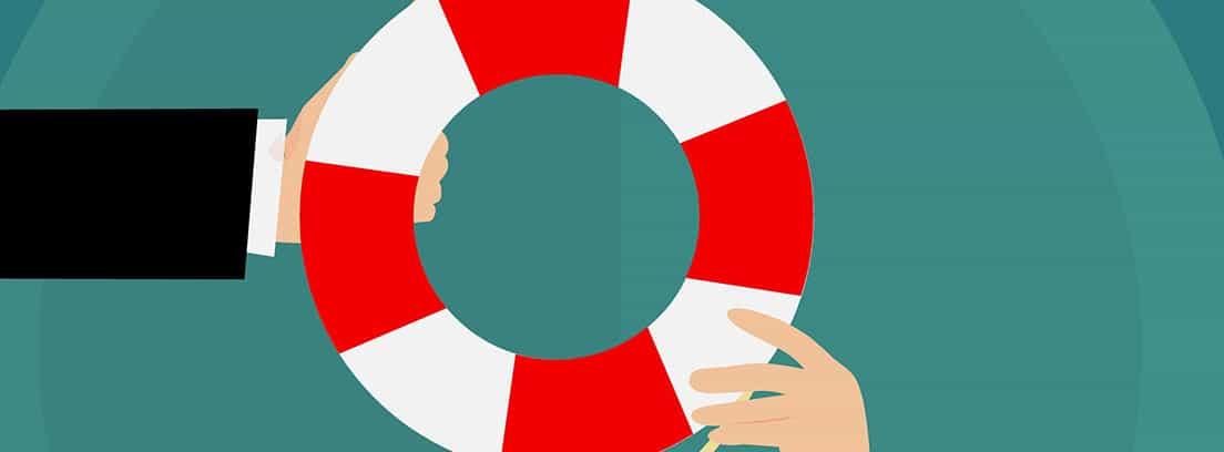 Ilustración de una mano entregando un salvavidas a otra mano