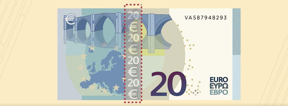 billete de 20 euros con la línea central marcada