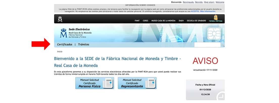 Pantallazo de la sede electrónica de la FNMT