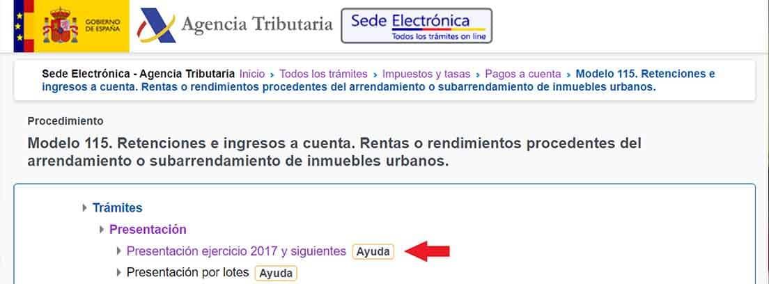 Pantallazo de la sede electrónica de la Agencia Tributaria