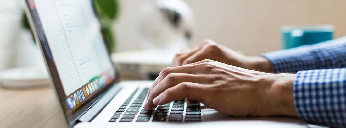 Detalle de las manos de una persona trabajando con un ordenador portátil