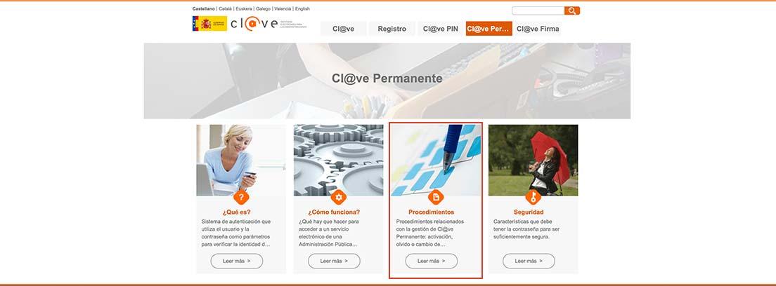 Captura de pantalla de la web clave.gob.es