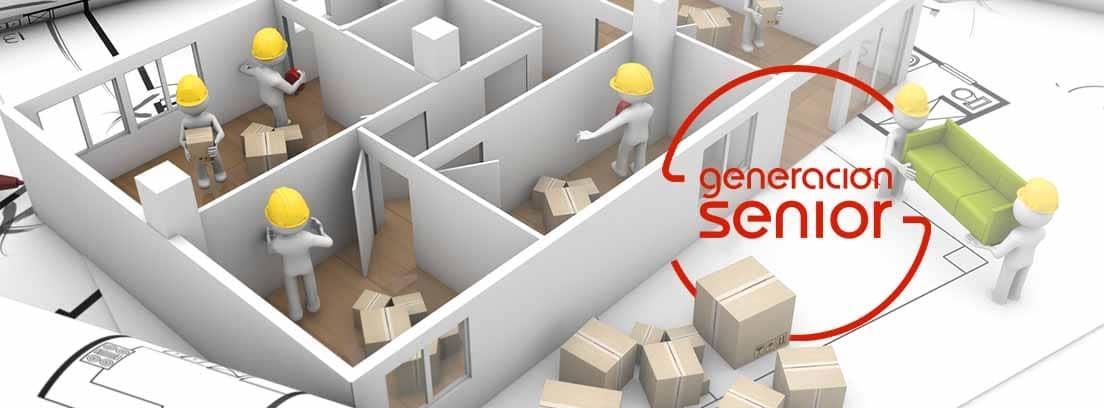 Infografía que muestra reformas en una vivienda y varios operarios con casco amarillo