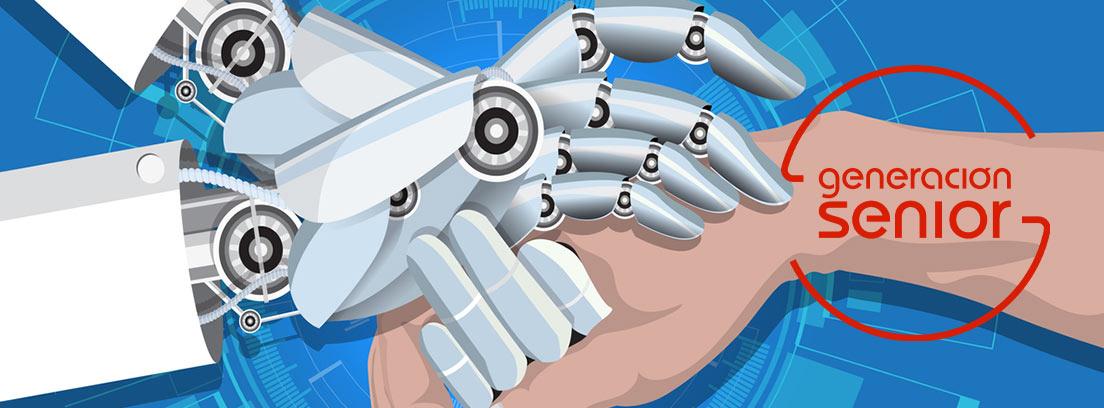 Ilustración de manos humanas y manos de un robot estrechándose