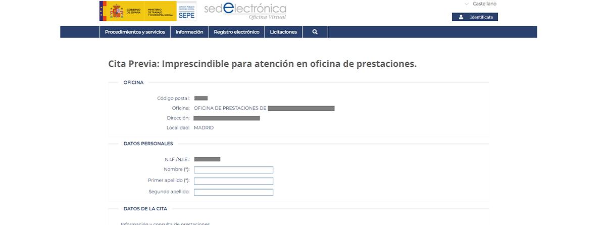 Página para pedir cita previa en la Sede Electrónica del SEPE