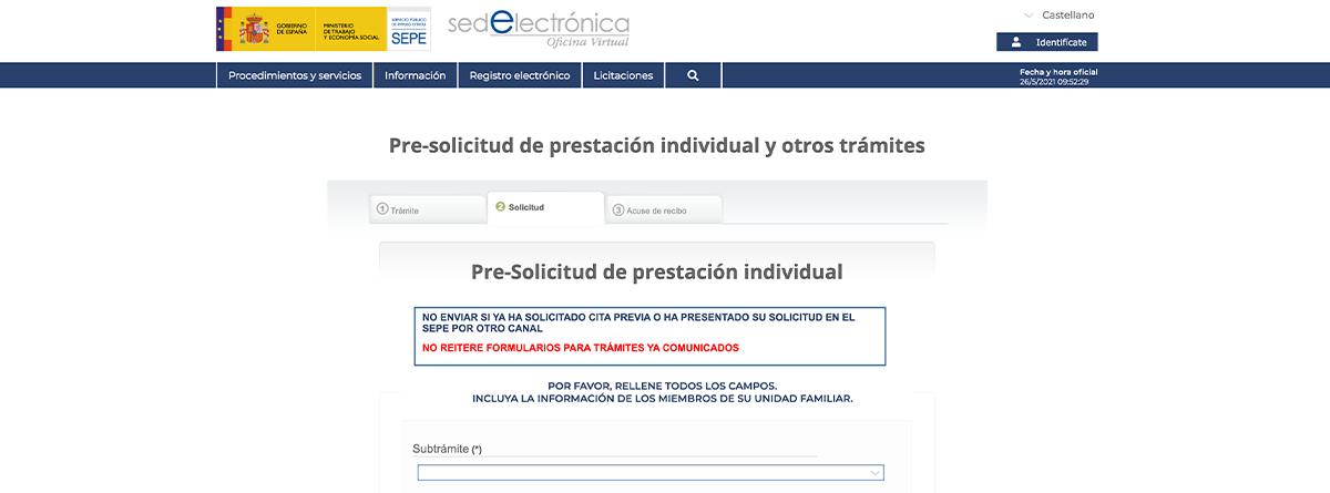 Página para tramitar el formulario de pre-solicitud del SEPE