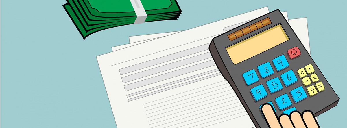 Ilustración de una mano sobre una calculadora, unos papeles y un fajo de billetes